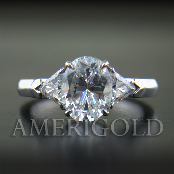 Oval Center and Trillion Diamond Ring