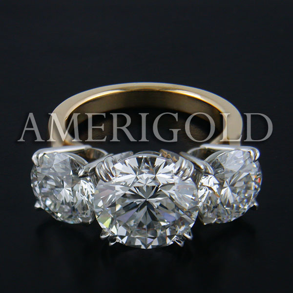 18KT Yellow Gold & Platinum Round Diamond Engagement Ring