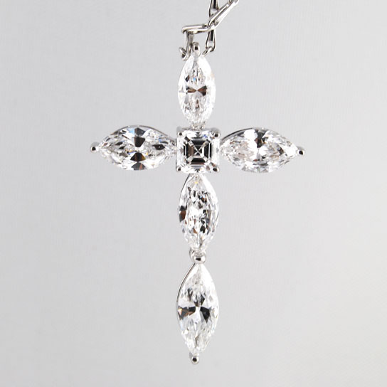 Cross Diamond Pandent Marquise Bullet Diamond