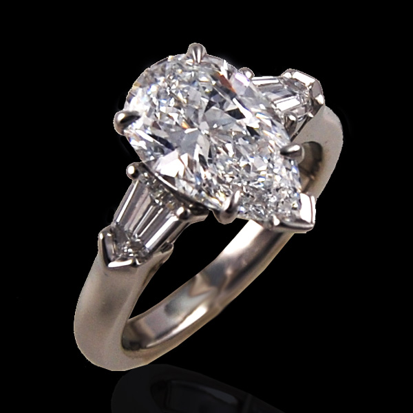 Pear Shape Diamond Three Stone Ring