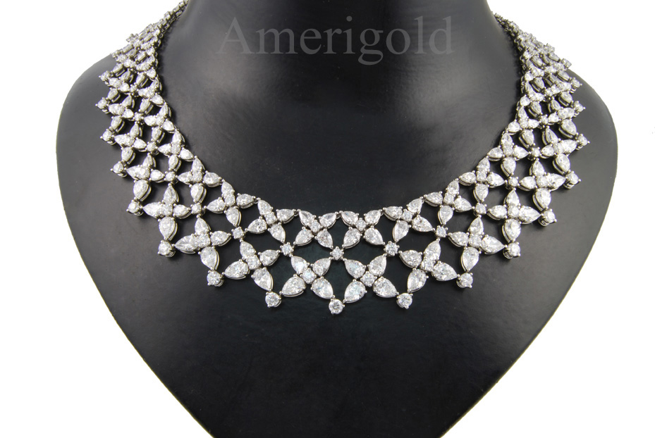 Pear Shape and Round Diamond Necklace