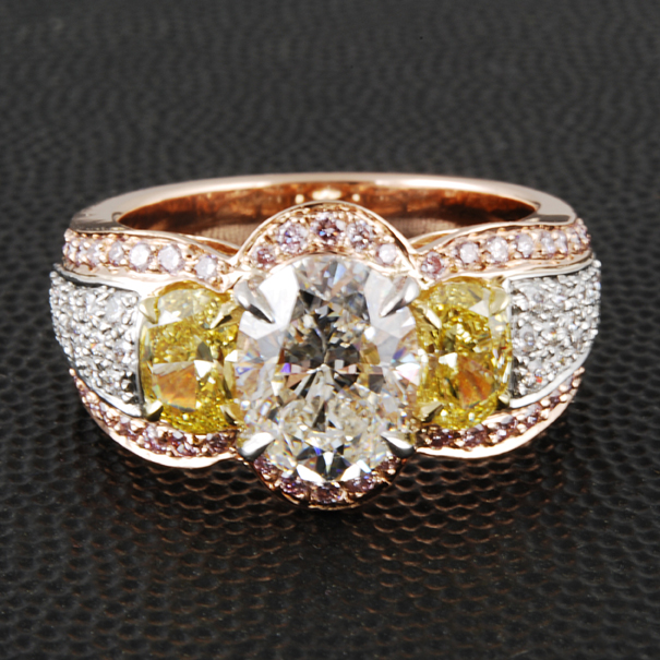 Gold Diamond Oval Custom Wedding Ring