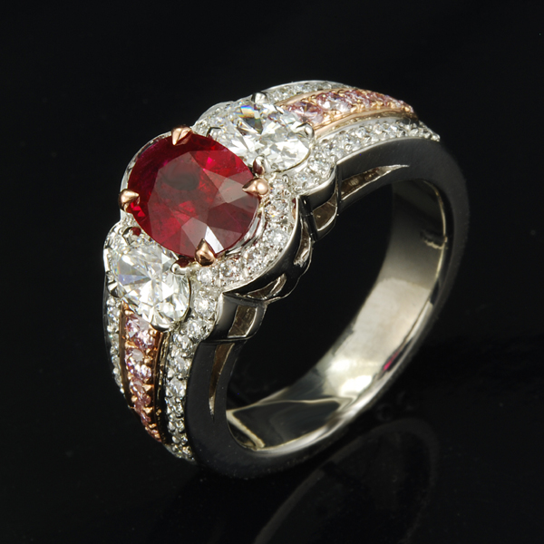 Oval Diamonds three stone ring ruby center stone