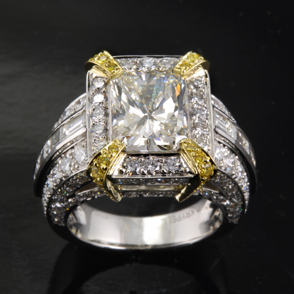Cushion Cut Diamond and Baguette