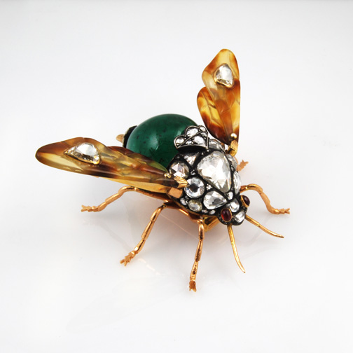 Handmade Antique Diamond Bug 18KT Yellow Gold