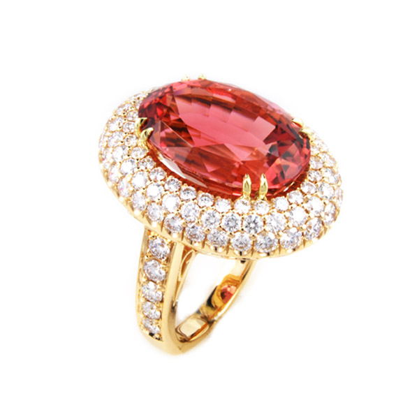 Ruby Center and Pave Diamond Ring 18KT Yellow Gold