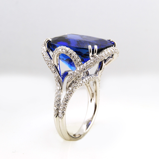 Blue Sapphire and Micro-pave Diamond Ring